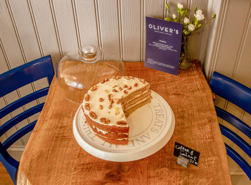 Image of a delicious cake at Olivers Coffee Shop