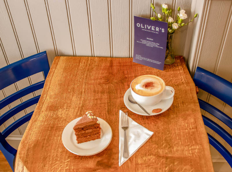 Image of coffee and cake at Olivers Coffee Shop