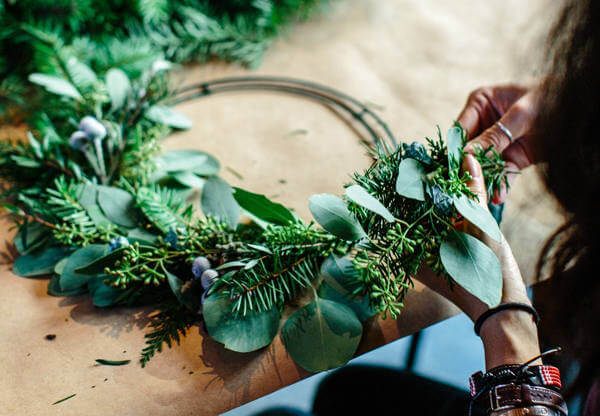 Image of Christmas wreath making at Olivers Coffee Shop